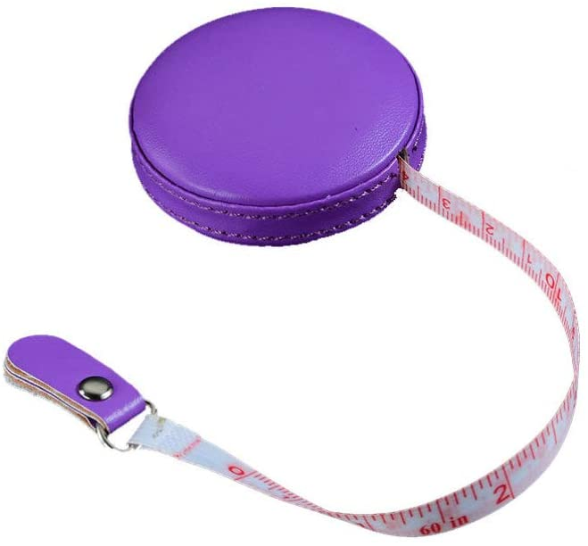 Healifty 1 Meter Soft Retractable Measuring Tape with Round PU Leather Case Cloth Measuring Tape Sewing Measurement Tool for Tailor (Purple)