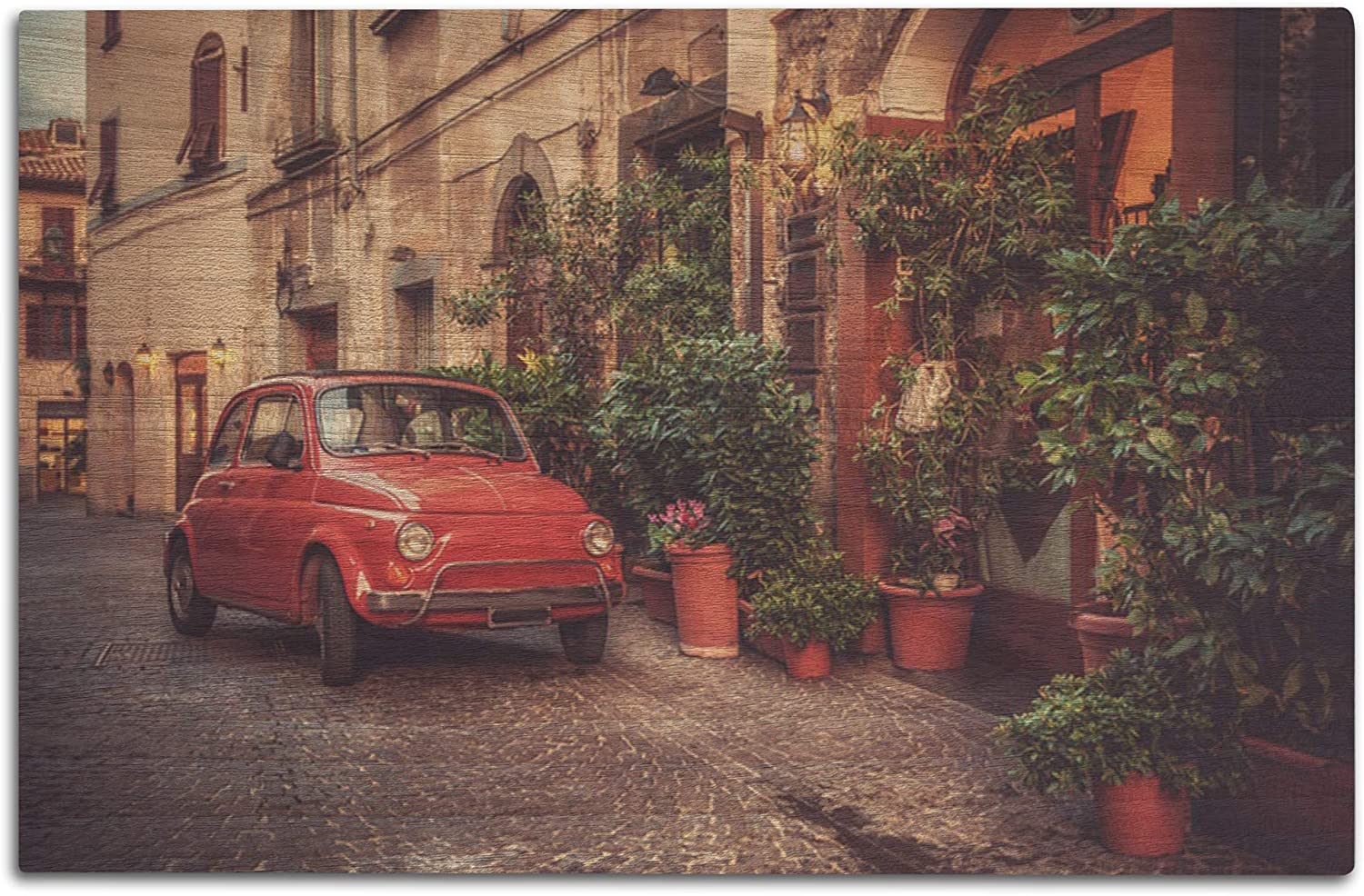 Lantern Press Vintage Car Parked on an Italian Street A-91429 (12x18 Wood Wall Sign, Wall Decor Ready to Hang)