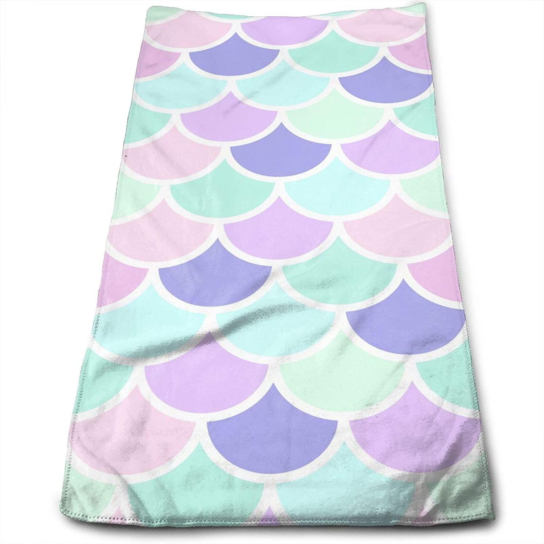 Beautiful Mermaid Hand Towels 12x27.5 Inch,Colorful Thin Towel,Portable Small Towel Bedroom Bathroom Kitchen Decor