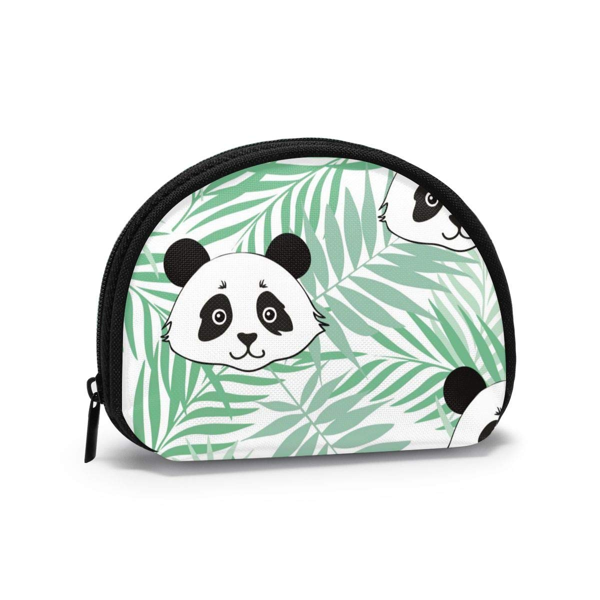 Cute Panda Tropical Leaves Semicircular Mini Wallet Coin Purse Card Holder Bag