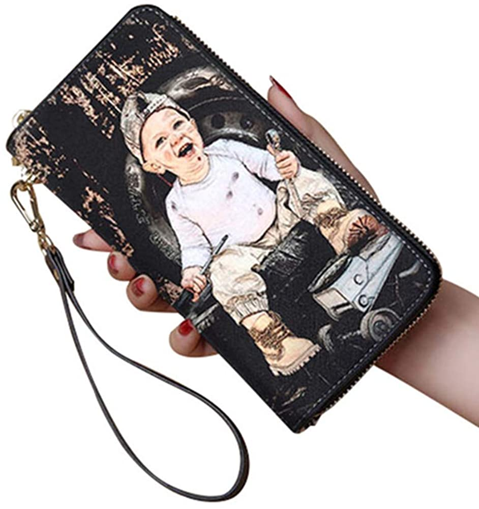 Personalized Crayon Style Photo Womens Wallet Custom Fashion Phone bags Leather Wallet Christmas gifts