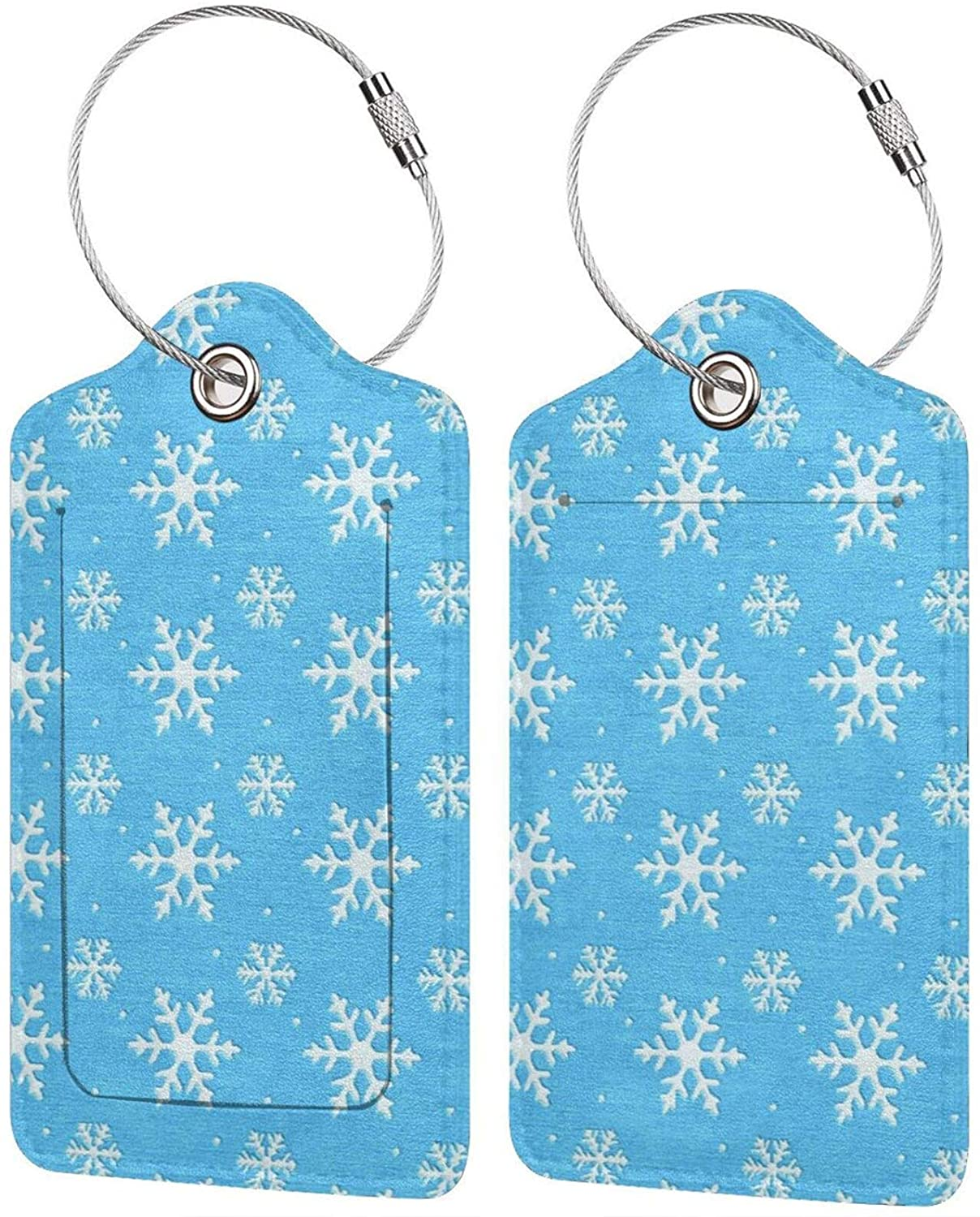NiYoung Tourister Blue Frozen Snowflake Luggage Tag Fashion Suitcase Labels Cool Name Luggage Bag Tags with Stainless Steel Loop and Address Card