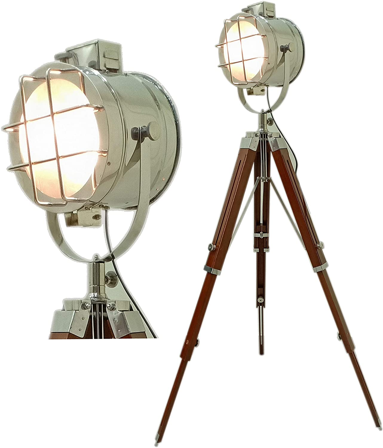 Nautical Photography Floor Searchlight Spotlight with Tripod Lamp