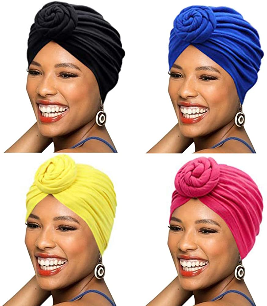 BABAHU 1Pack / 2Packs / 4Packs Women Turban African Pattern Cotton Knotted peas pre-Tied hat Makeup Cap Hair Loss Cap