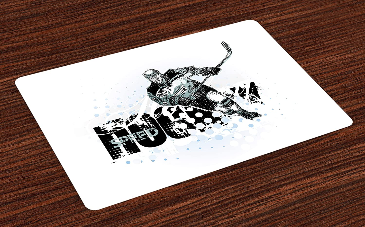 Ambesonne Hockey Place Mats Set of 4, Grunge Sketch Art of a Professional Player Silhouette and Text with Dots, Washable Fabric Placemats for Dining Room Kitchen Table Decor, Black White Pale Blue