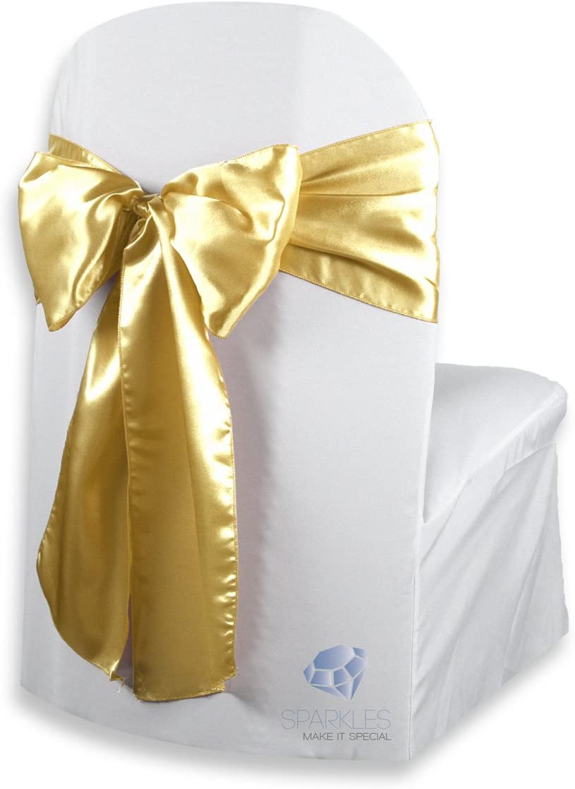 Sparkles Make It Special 50 pcs Satin Chair Cover Bow Sash - Gold - Wedding Party Banquet Reception - 28 Colors Available