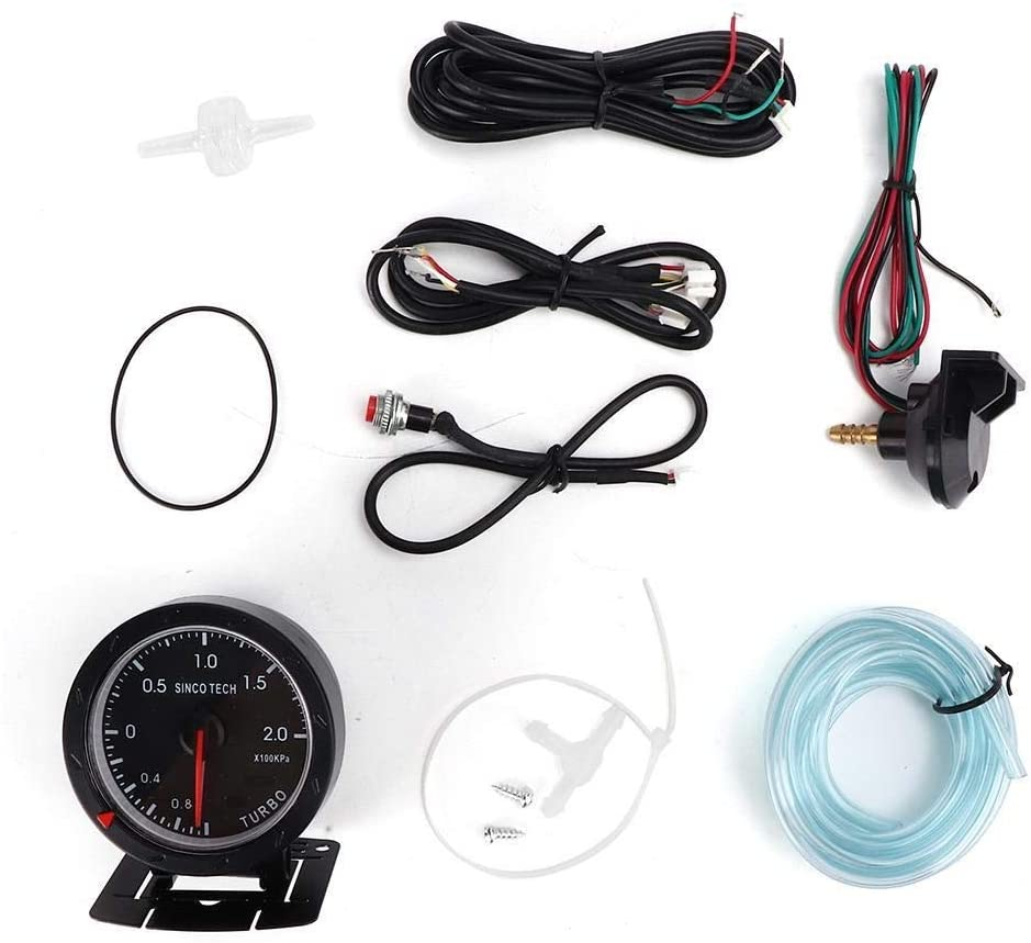 TKSE SINCO TECH 2.4in 7 Color PSI Turbo Pressure Boost Gauge Meter LED Display Racing Car Instrument