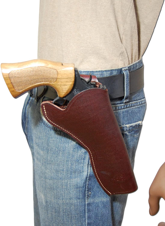 Barsony New Burgundy Leather Cross-Draw Gun Holster for 6 inch Revolvers