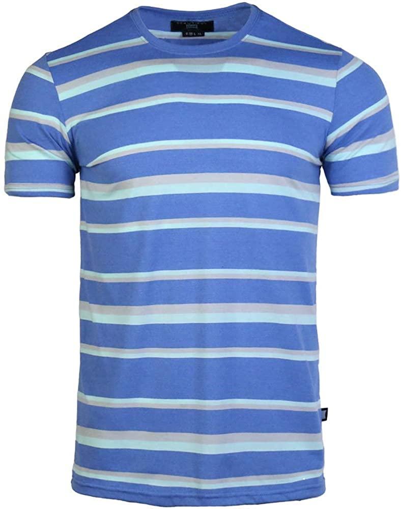 BG Men's Cotton Stripe T-Shirt Blue White Casual Office Regular Fit Basic Tee