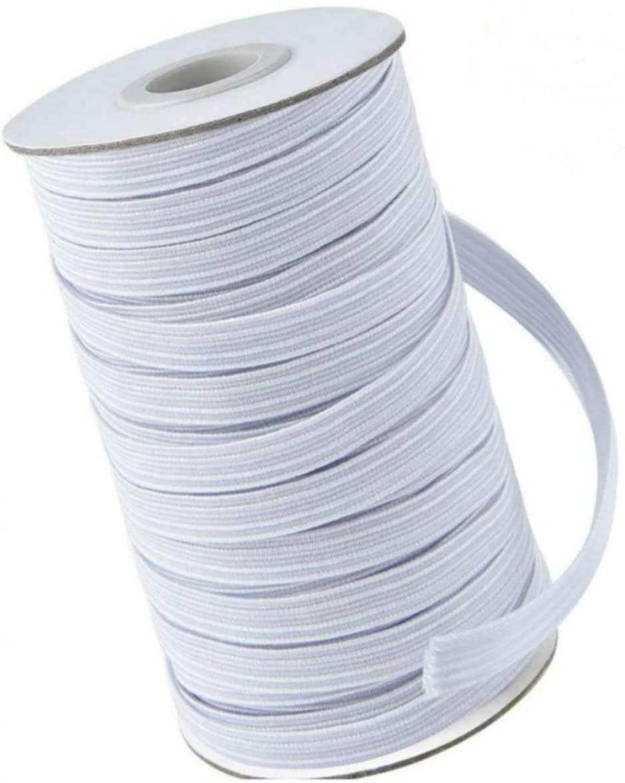 145 Yards Elastic Band for DIY Face Mask, 1/4 Inch Width Braided Elastic String Cord Heavy Stretch High Elasticity Knit Elastic Band for Arts Crafts Sewing (White)