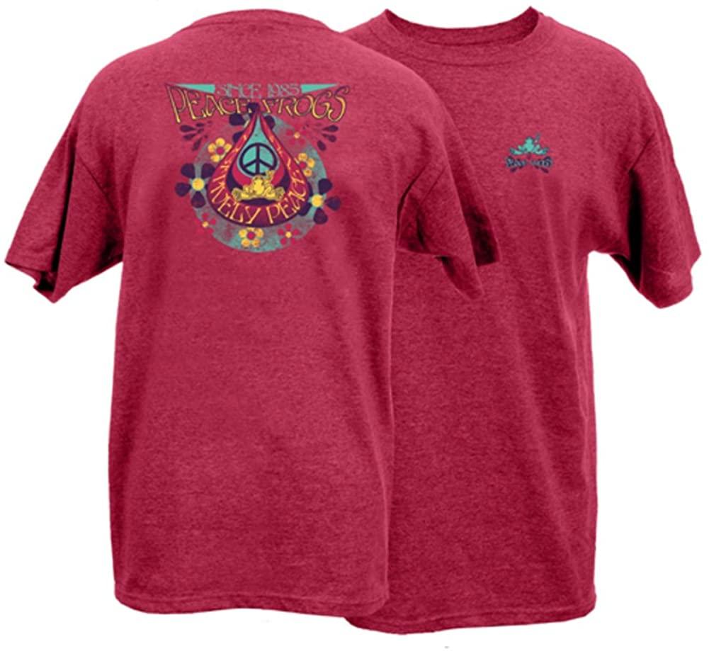 Peace Frogs Adult Teardrop Frog Short Sleeve T-Shirt (Heather Cardinal, Large)