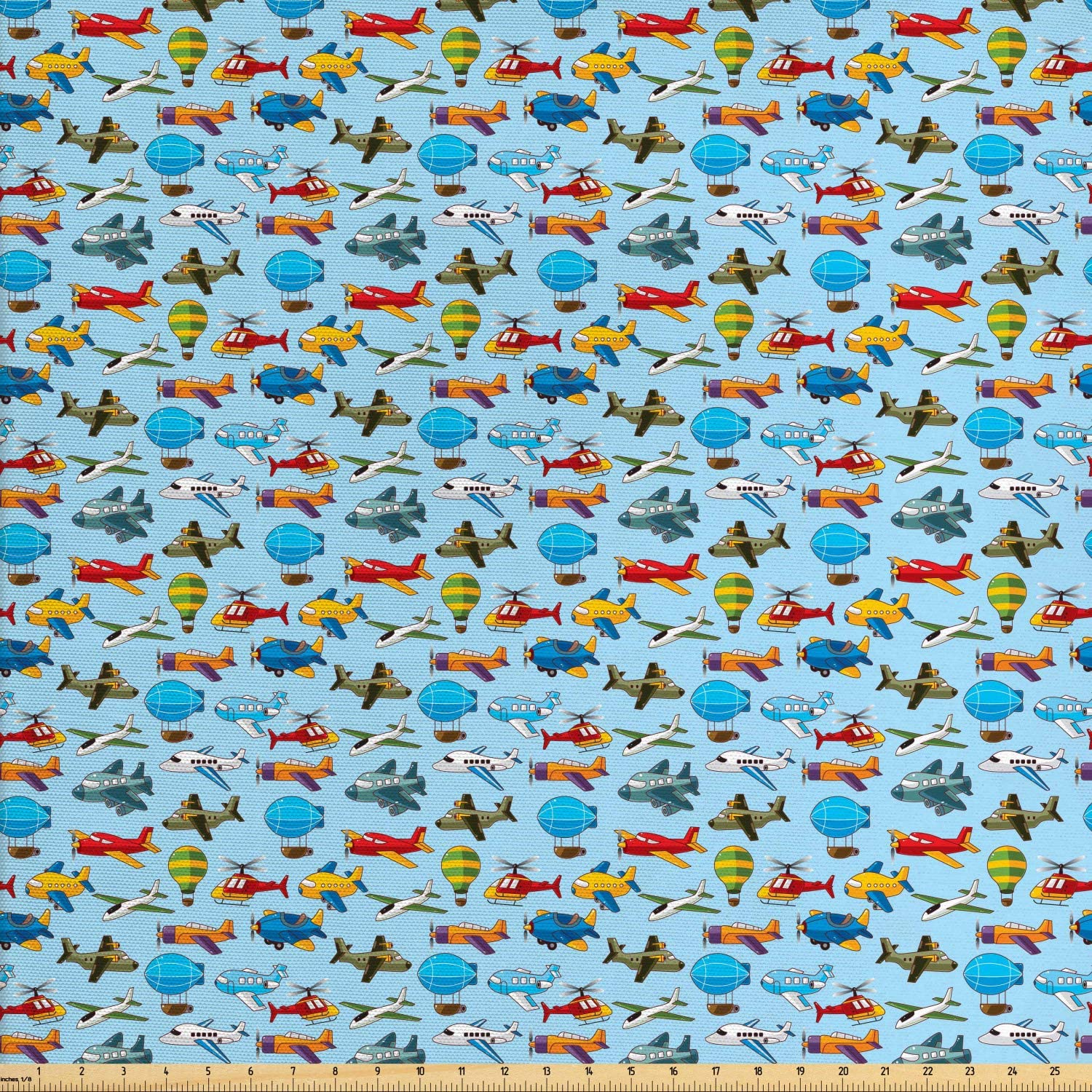 Lunarable Plane Fabric by The Yard, Airplane Helicopter Zeppelin Air Balloon and Toy Flights Nursery Themed Pattern, Decorative Fabric for Upholstery and Home Accents, 3 Yards, Red Blue