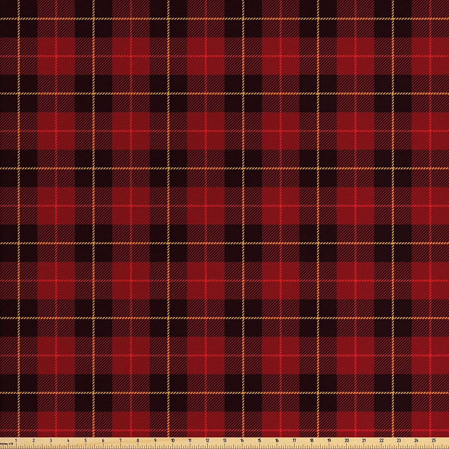 Lunarable Plaid Fabric by The Yard, Scottish Tartan with Traditional Colors Vintage Country Style, Decorative Fabric for Upholstery and Home Accents, 2 Yards, Brown Mustard