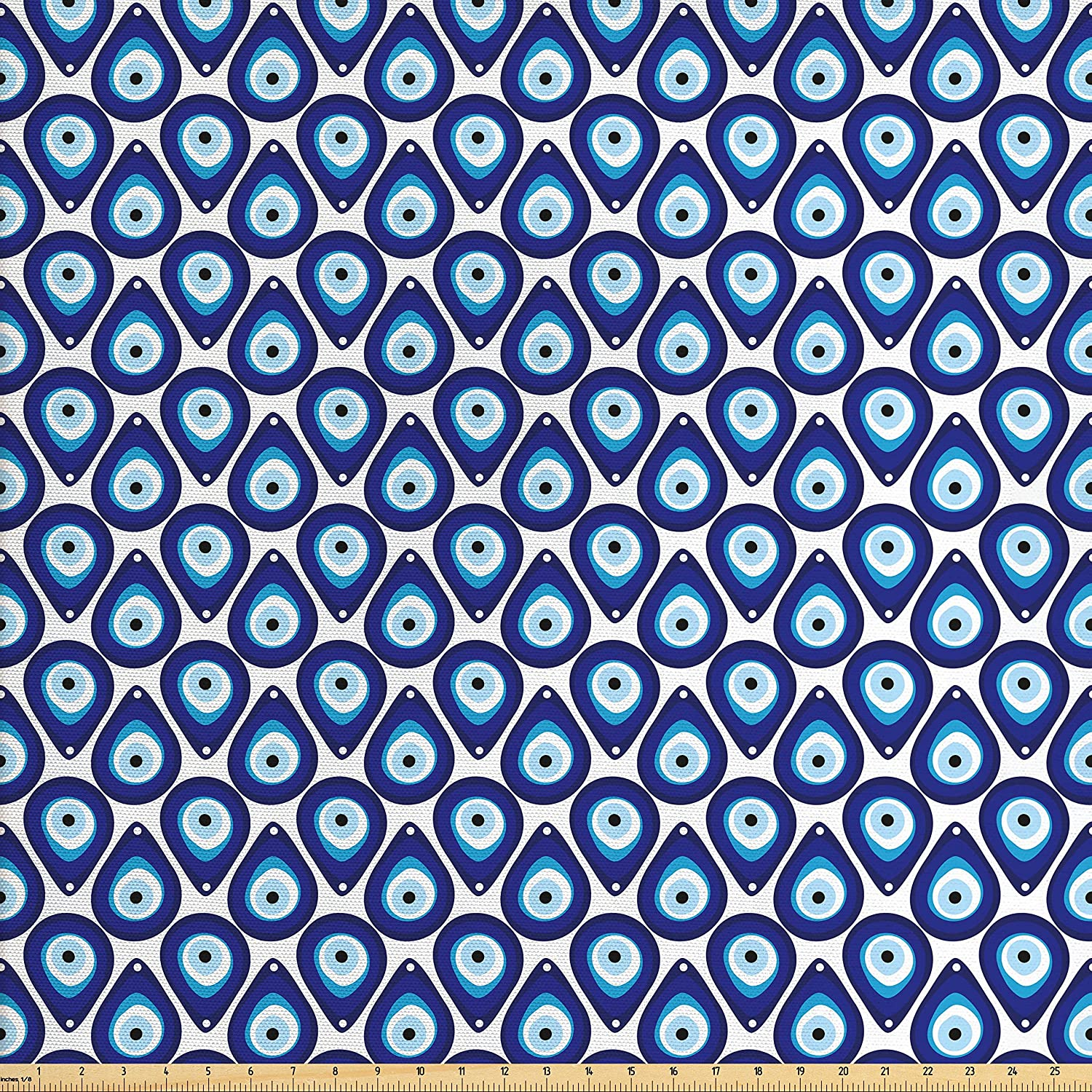 Ambesonne Evil Eye Fabric by The Yard, Water Drops Inspired Shape up and Down Luck Charm Vivid Tile Design, Decorative Fabric for Upholstery and Home Accents, Blue Pale Blue White