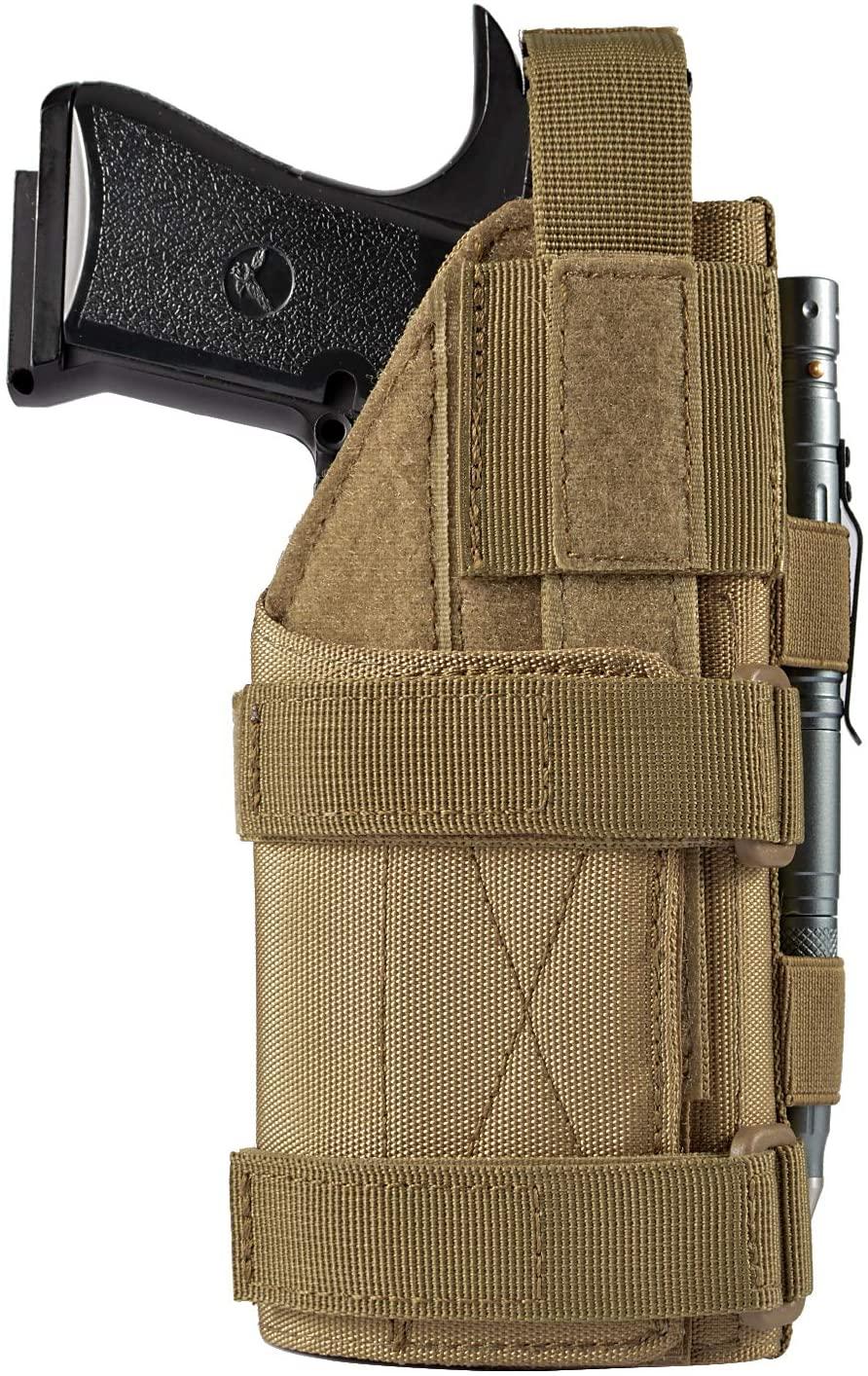 FRTKK Adjustable Tactical Pistol/Gun Holster for 1911, Ruger LCP, S&W M&P 40 Shield Bodyguard, Sig Sauer, Ruger, Kahr, Beretta, Glock 17 19 26 34