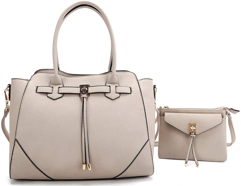 La Terre Women Fashion Handbags 2-in-1 Tote & Crossbody Set, Pebble Texture Vegan Leather with Gold Tone Hardware