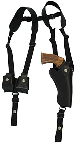 Barsony New Vertical Black Leather Shoulder Holster w/Speed-Loader Pouch for 4