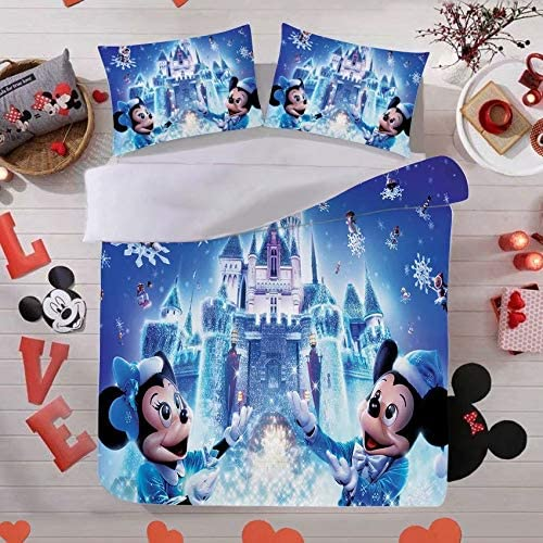 Yumhi Mickey Mouse Bedding Sets Full Size 3PCS Duvet Cover Set for Kids Christmas Comforter Cover Including 1 Duvet Cover with 2 Pillowshams