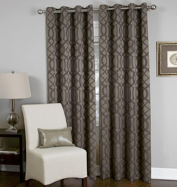 Elrene Home Fashions 26865753400 Grommet Top Solid Ironwork Damask Single Panel Window Curtain Drape, 52