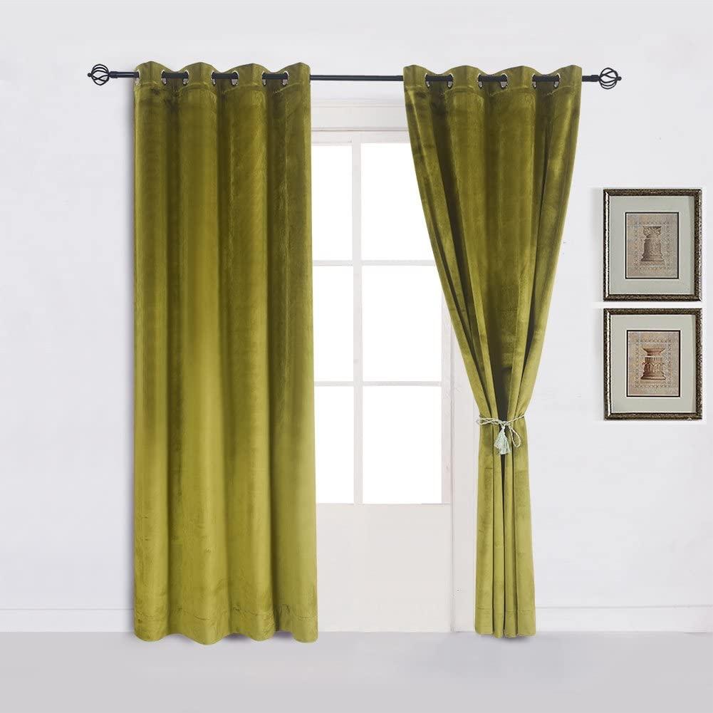 Cherry Home Super Soft Luxury Room Darkening Velvet Moss Green Thermal Blackout Curtain Panel Drapes Grommet Draperies Eyelet 52Wx84L inch Green Yellow,2 Panels