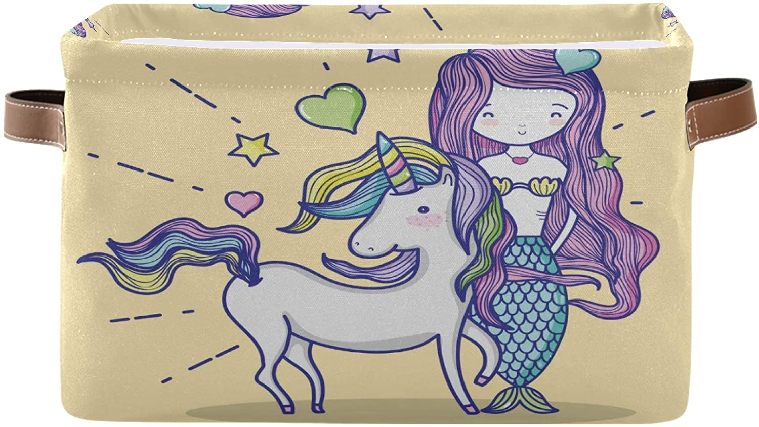 Ombra Storage Basket Cute Animal Unicorn Mermaid Storage Cube Box Durable Canvas Collapsible Toy Basket Organizer Bin with Handles for Shelf Closet Bedroom Home Office