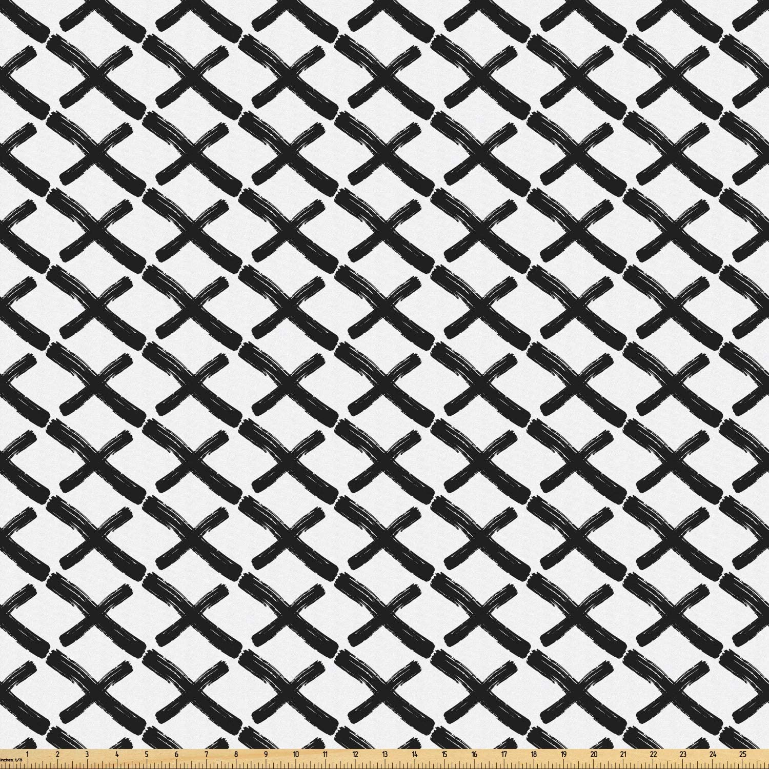 Ambesonne Modern Fabric by The Yard, Math Geometry Inspired Minimalist Design with Brushstrokes Like Art Print, Microfiber Fabric for Arts and Crafts Textiles & Decor, Charcoal Grey White