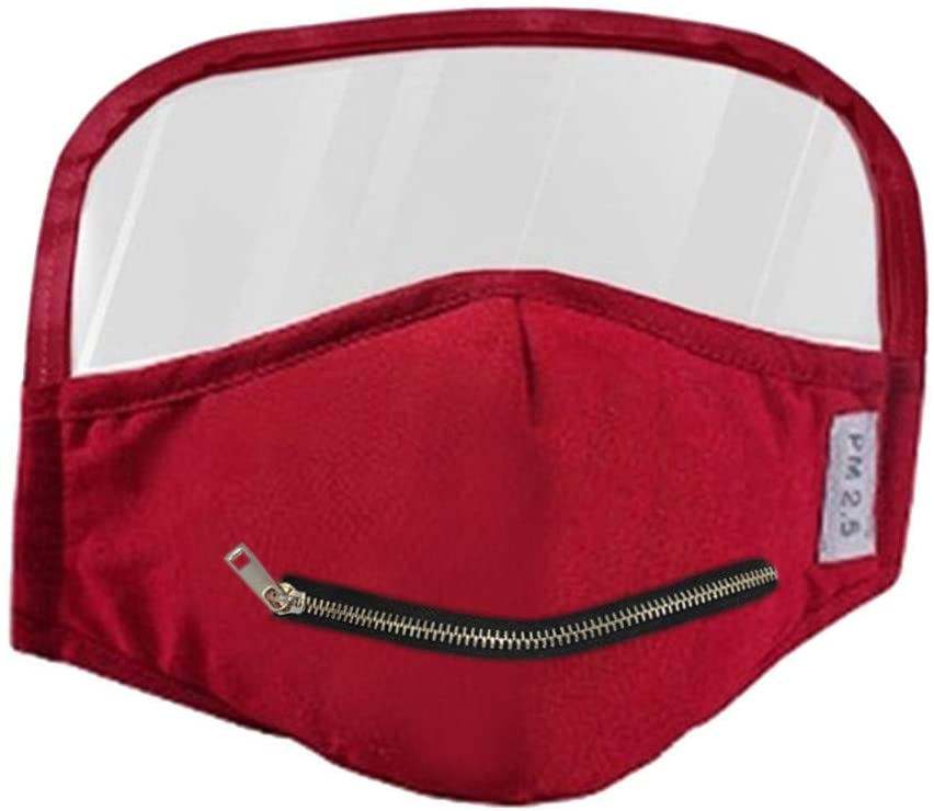 Stzonece Adult Cotton Zipper Opening Design Mouth Outdoor Protective Face Covering With Eyes Shield