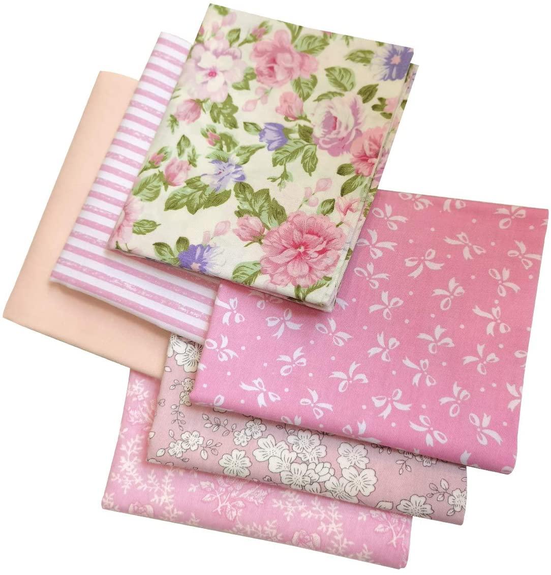 Mililanyo 6Pcs Cotton Fabric Bundles Patchwork, 46 x 56cm Pink Printed Patterns Sewing Patchwork for DIY Artcraft
