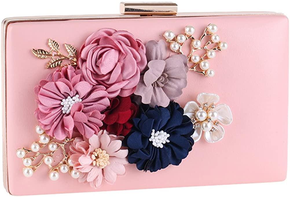 OULII Women's Handbag Sweet Flowers And Pearls Design Evening Wallet Case Bag Wedding Purse (Pink)