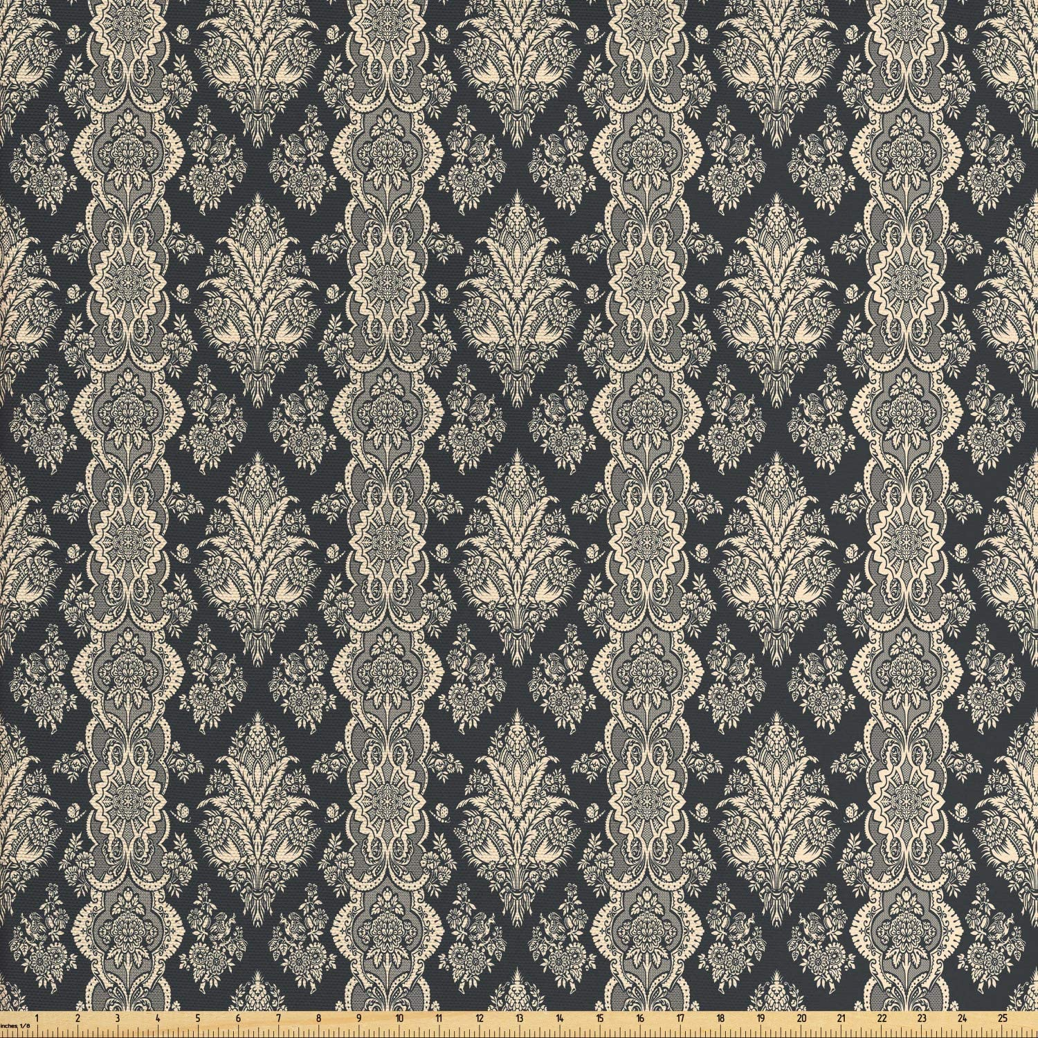 Ambesonne Damask Fabric by The Yard, Victorian Style Baroque Classic Pattern with Ornamental Floral Leaves Image, Decorative Fabric for Upholstery and Home Accents, 1 Yard, Charcoal Grey Cream