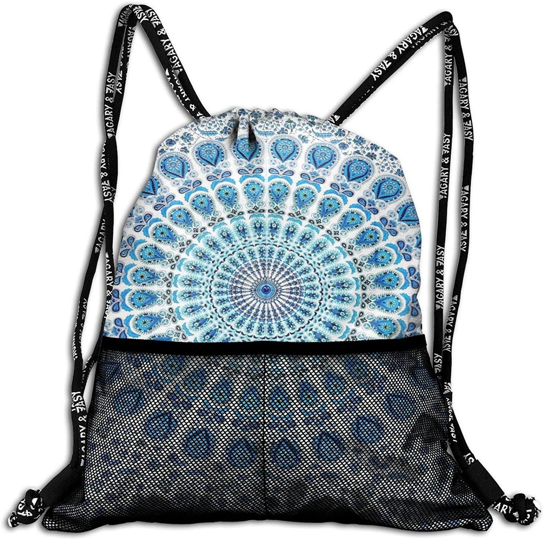 Hippy Mandala Bohemian Drawstring Backpack, Shoulder Bags String Bag Sackpack Cinch Water Resistant for School Travel Gym Shopping Sport Yoga Storage for Women Men