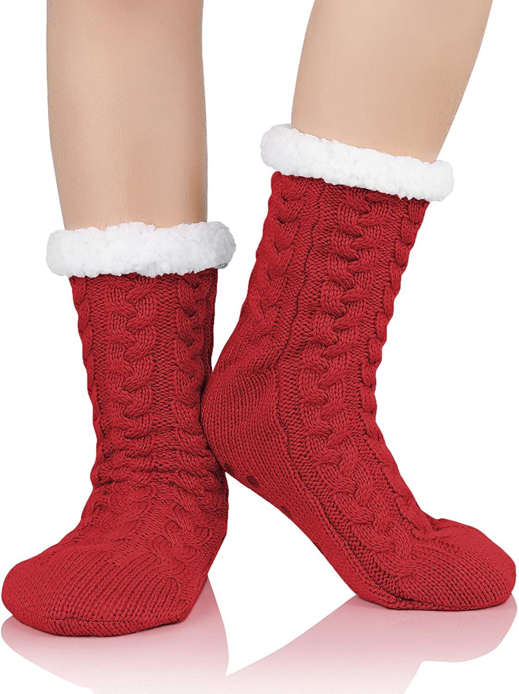 Zando Women's Slipper Socks Winter Fuzzy Socks Warm Fluffy Socks Cozy Fleece-lined Slipper Socks Super Soft Fuzzy Socks