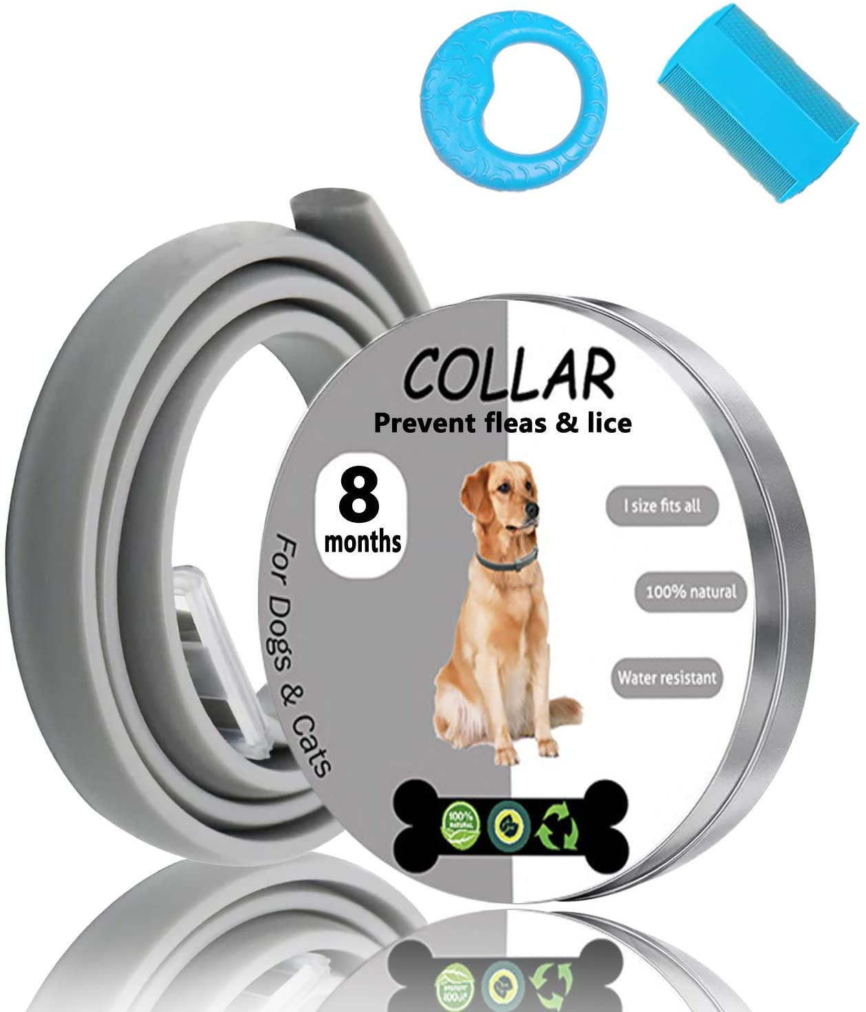 Petty Helper Flea Collar for Dogs Cats-8 Months Protection-No Allergic & Waterproof & Adjustable Design-100% Natural Essential Oil Treatment & Prevention Collar-Give-Away flea Comb&Dog chew Toy
