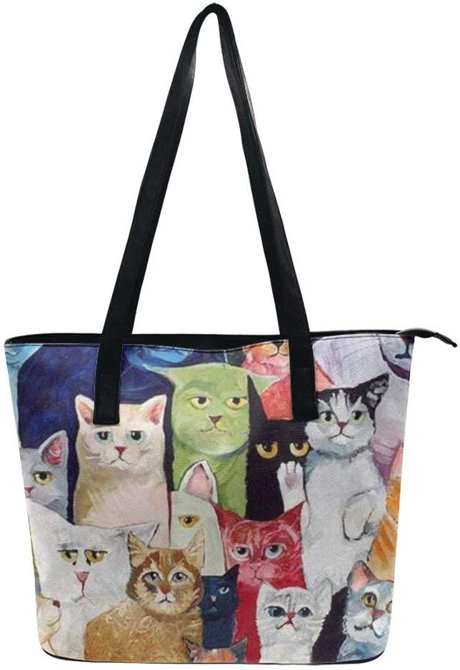 NiYoung Cats Animal Handbags for Women PU Leather Tote Shoulder Bag Waterproof Big Capacity Zippered Shoulder Handbag for Travel Work School Shopping Beach