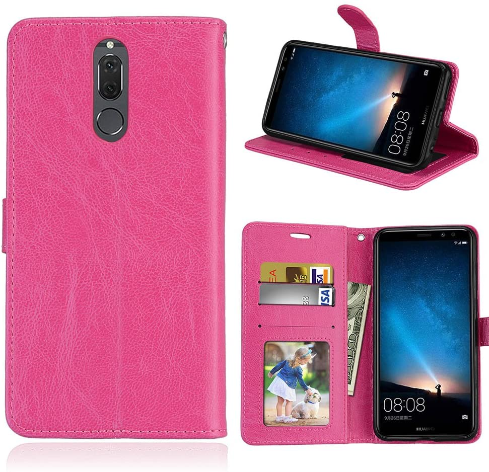 Zhusha Cases & Cover, Solid Color Premium PU Leather Wallet Magnetic Buckle Design Flip Folio Protective Case Cover for Huawei Mate 10 Lite/Maimang 6 (Color : Rose)