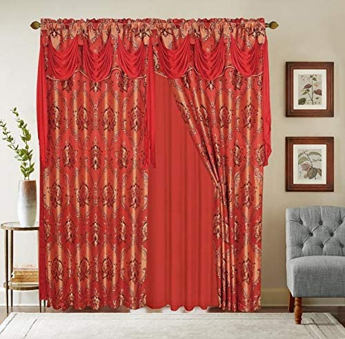 Jacquard Window 84 Inch Length Curtain Drapes w/attached Valance Scarf + Sheer Backing + 2 Tassels, Traditional 84