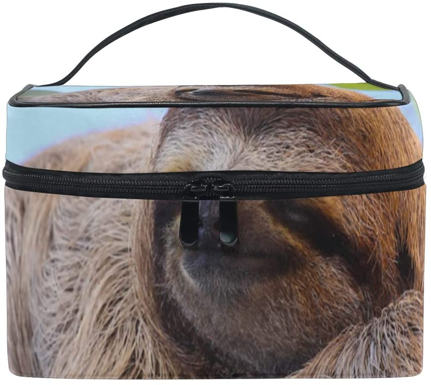 Makeup Bag Square Cosmetic Cute Baby Sloth Train Case Portable Travel Toiletry Bag Organizer Accessories Case Tools Case for Beauty Women