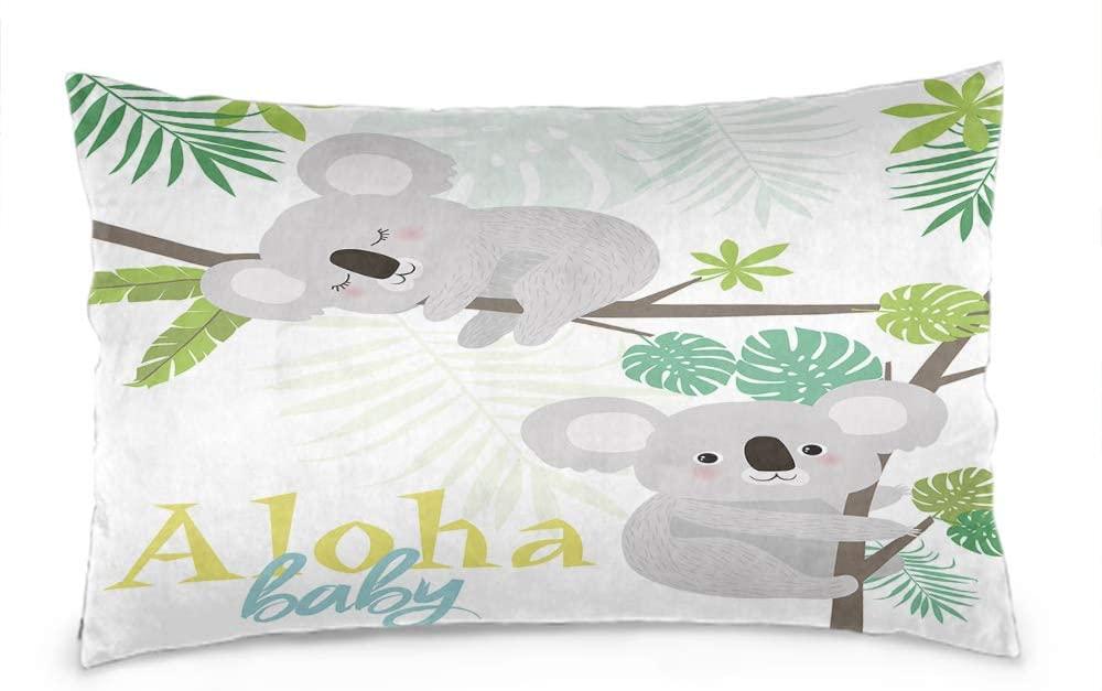 Wozukia Fun Koalas Throw Pillow Cover Aloha Baby Animal Sleeping or Climbing on Branch Stylish Design Cotton Linen Decorative Rectangular Pillowcase for Sofa and Bed Couch 12X20