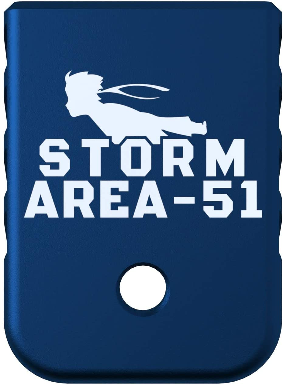 Rowe Tactical Glock Gen 1-5 Magazine Base Plate - Blue (Angle Serrations) Storm Area - 51 Graphic - Fits 9mm .40 Cal .357 Sig 45 Gap