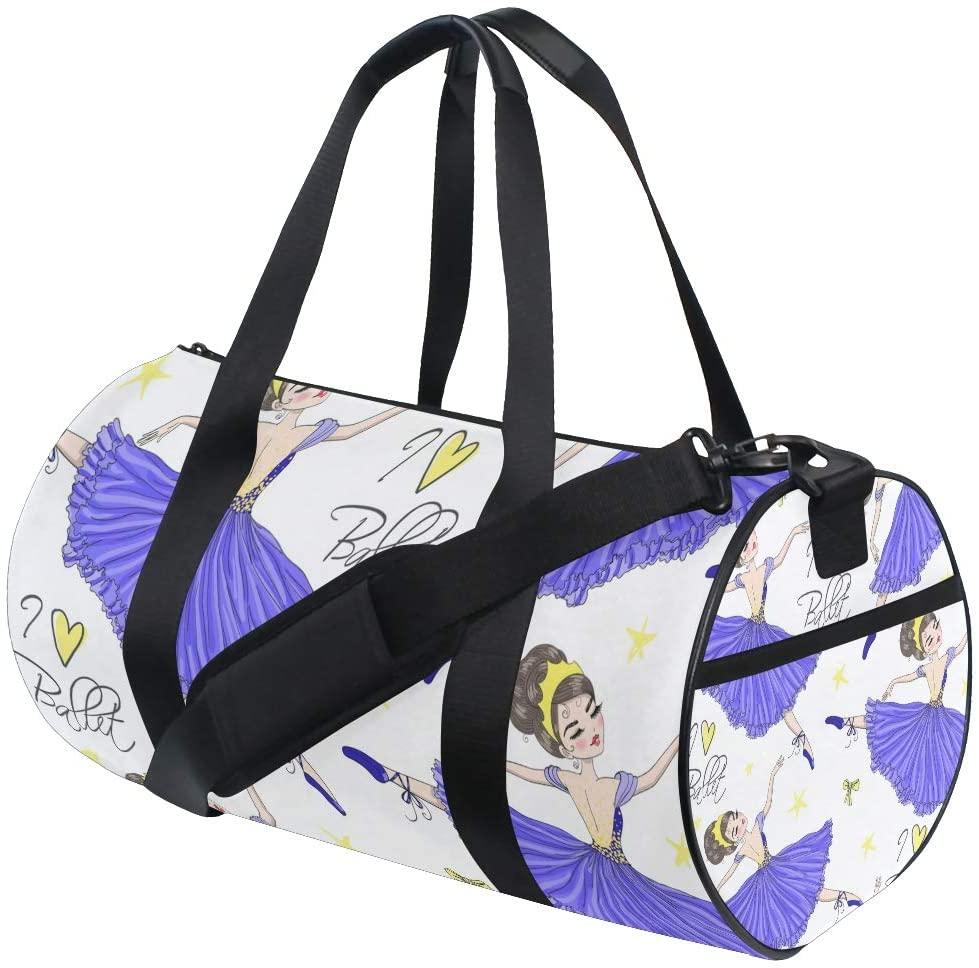 Girl Duffle Bag, Dance Duffle Bags for Girls Kids Gym Bag Cartoon Little Ballerinas Girl