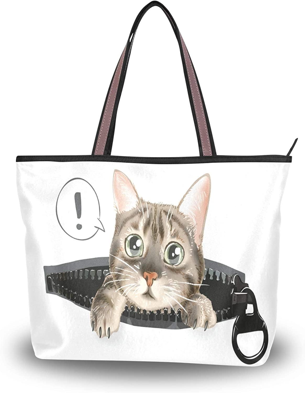 Women Large Tote Shoulder Bag Big Capacity Zipper Fashion Travel Handbag M-L Cute Cat