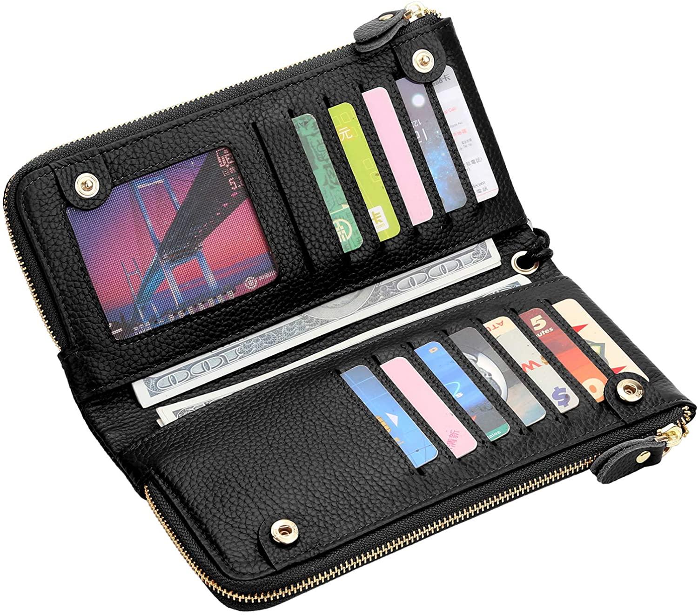 YALUXE Wristlet-for-Womens-Genuine-Leather Multi Cards Case Wallet Card Slots Double Zipper