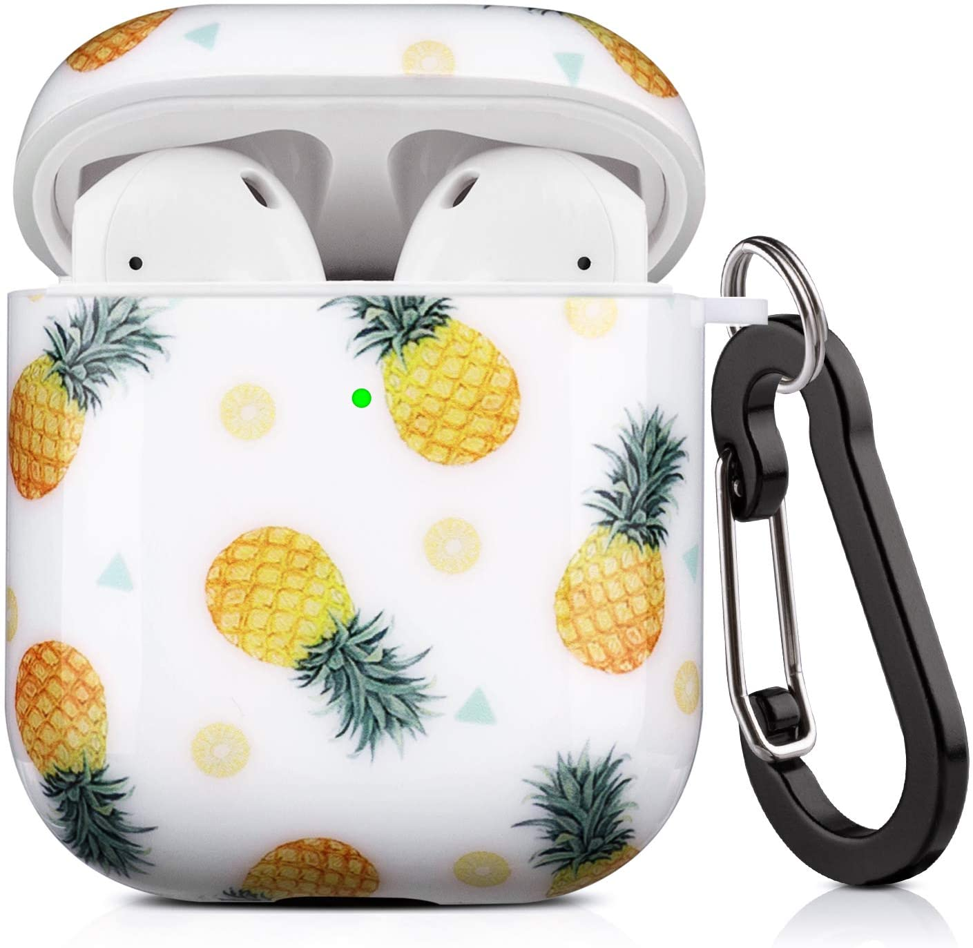 Lokigo AirPods Case Protective Cover Compatible with Apple AirPods 2 and 1 Hard Case Kits with Keychain/Strap/Earhooks/Watch Band Holder for Girls Women Men(Tiled Pineapple)