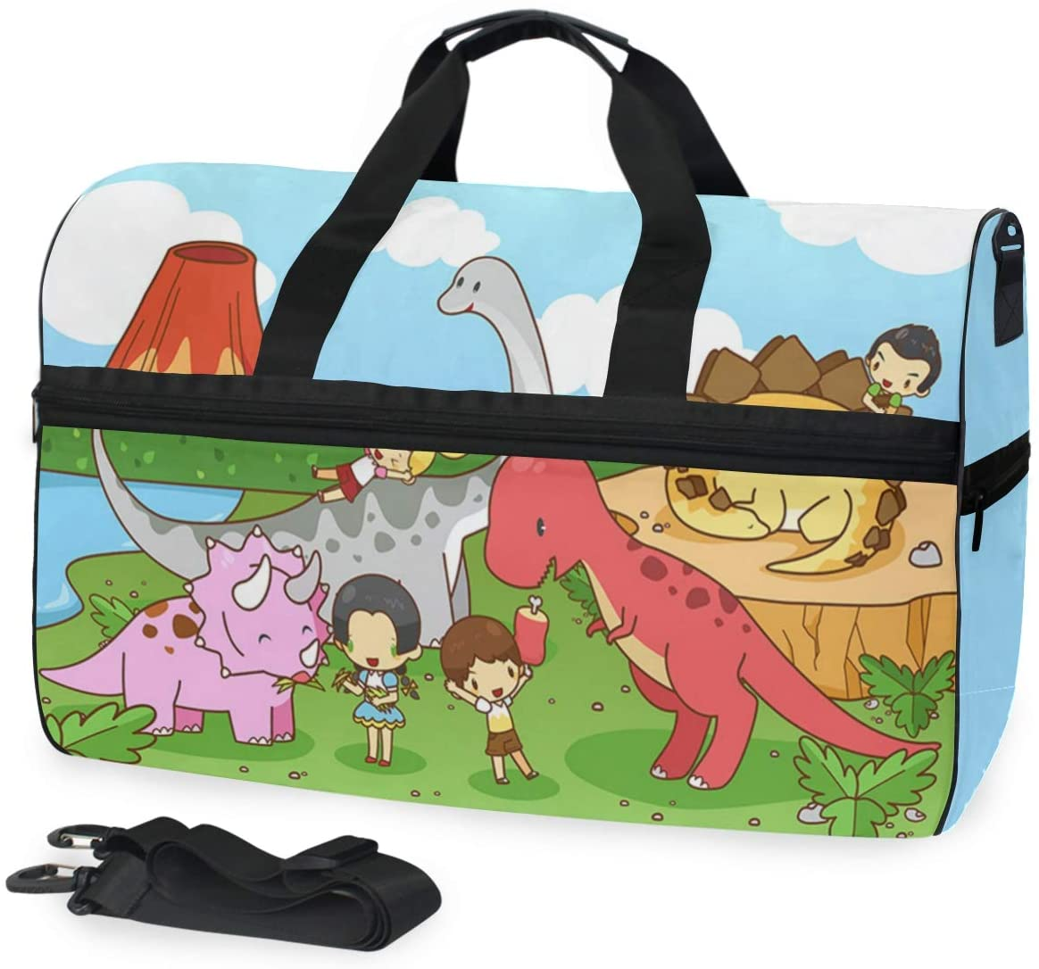 ALAZA Cartoon Dinosaur World Sports Gym Duffel Bag Travel Luggage Handbag Shoulder Bag with Shoes Compartment for Men Women