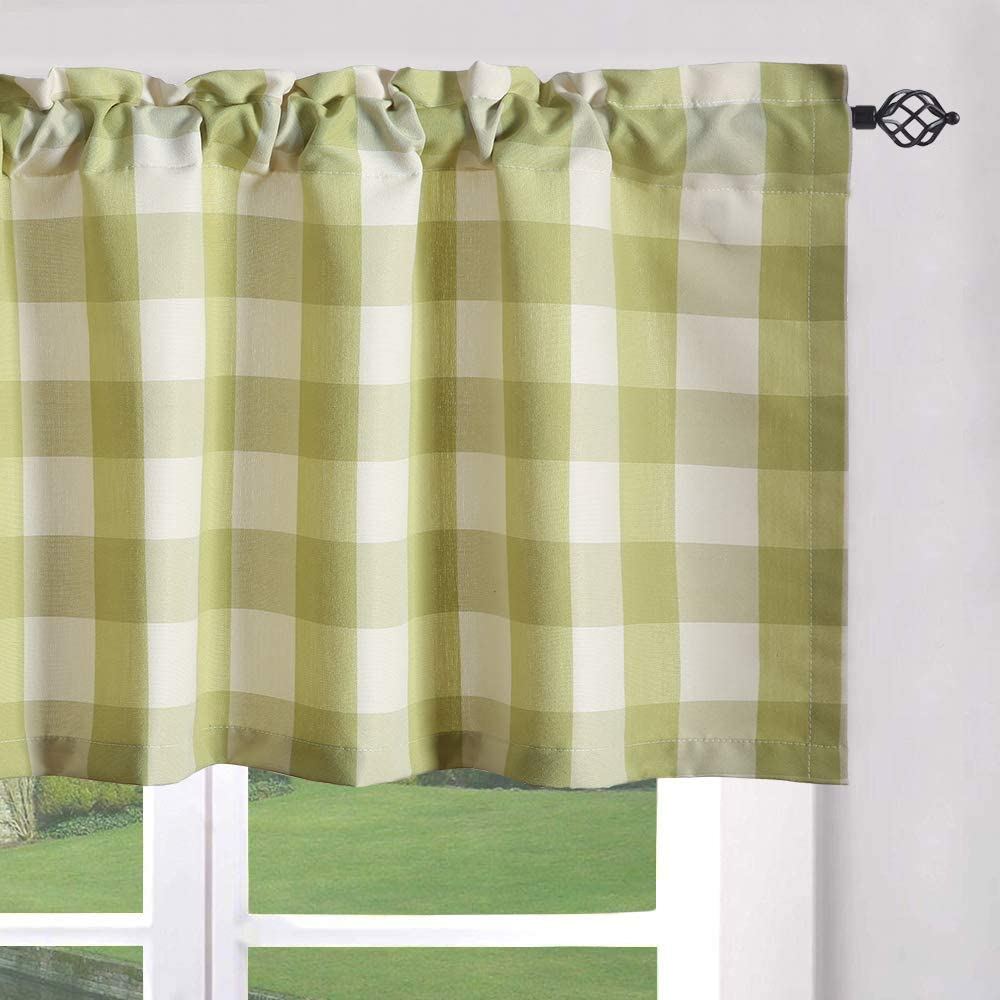 Leeva Window Valances for Porch Bathroom, Elegant Buffalo Check Plaid Pattern Single Rod Pocket Valance for Door Head, 52x18, One Panel, Green