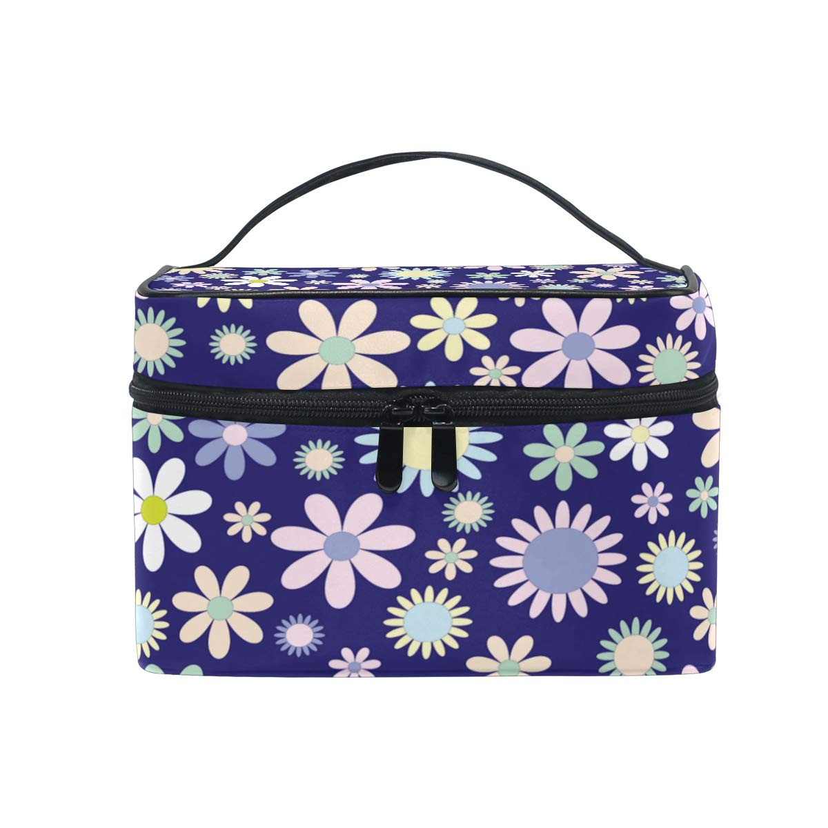 Travel Cosmetic Bag Daisy Flower Blue Toiletry Makeup Bag Pouch Train Tote Case Organizer Storage For Women Girls