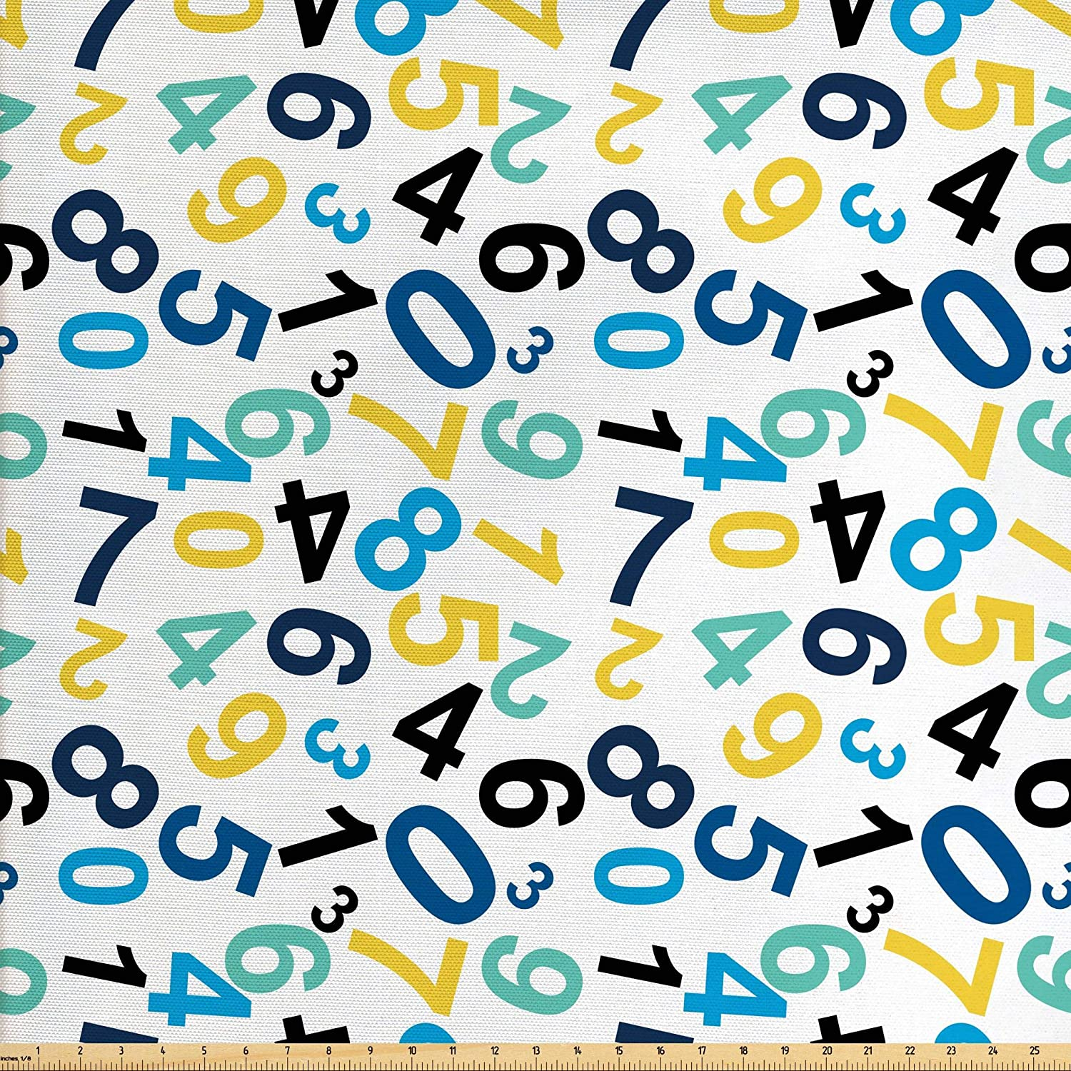 Ambesonne Numbers Fabric by The Yard, Math Themed Numbers Pattern Algebra School Learning Education Themes Colorful Image, Decorative Fabric for Upholstery and Home Accents, 5 Yards, Indigo Yellow