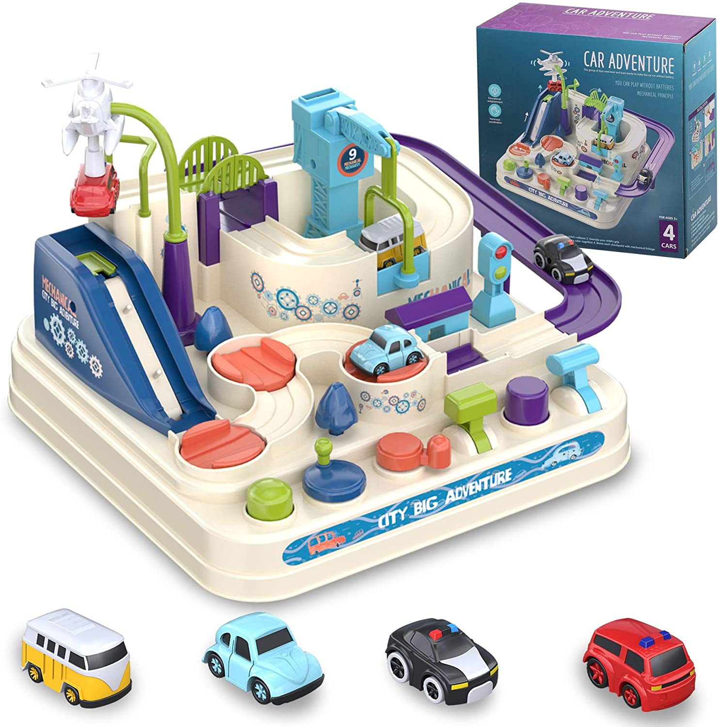 VARWANEO Car Adventure Toys for 3 4 5 6 7 8 Year Old Boys Girls, Race Tracks Toy for Boys with 4 Toy Vehicle, Preschool Educational Toy Car for 2 Year Old Boy, Interactive Classic Toys Vehicle Playset
