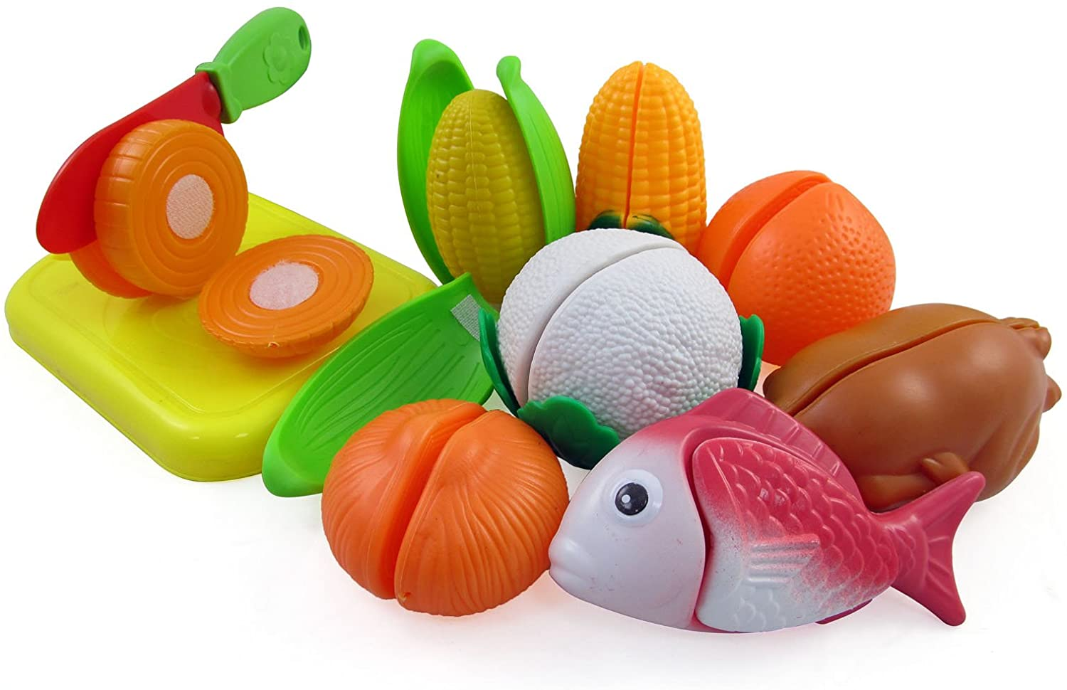 Liberty Imports Cutting Vegetables, Fish & Chicken Pretend Play Food Set for Kids with Cutting Board & Knife
