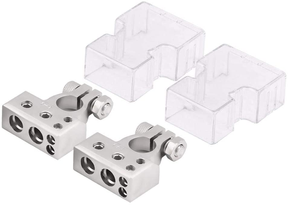Acouto Battery Terminal Clamp, 1 Pair of Car Battery Terminal Positive & Negative Connector Clamp for 0/1 2 4 8 AWG Gauge(Silver)
